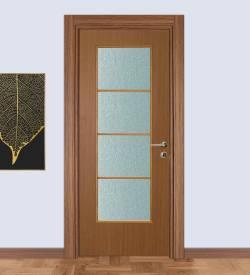 Laminat Camlı Oda Kapısı Teak Kasalı