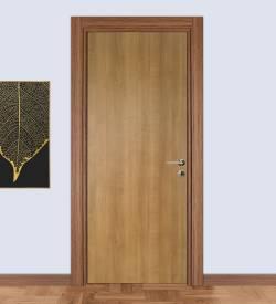 Teak Kasalı Düz Panel Laminat Iç Kapı